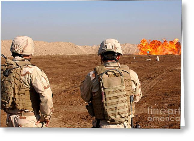 Detonating Greeting Cards - U.s. Soldiers Detonate A Test Explosion Greeting Card by Stocktrek Images