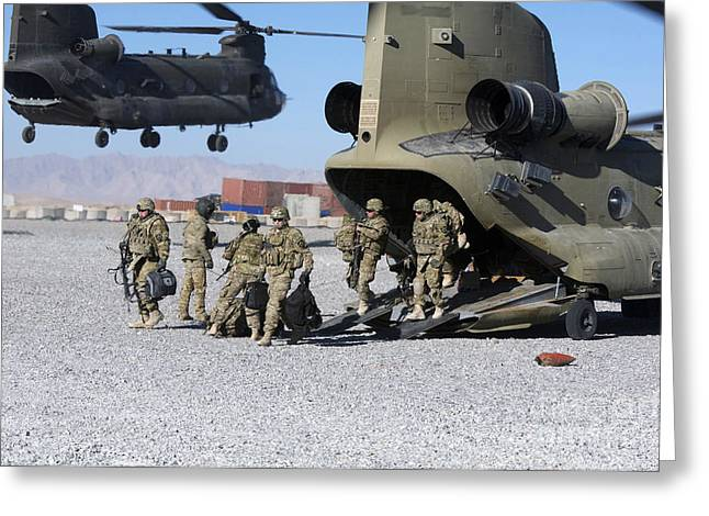 Zabul Greeting Cards - U.s. Soldiers Offload A Ch-47 Chinook Greeting Card by Stocktrek Images