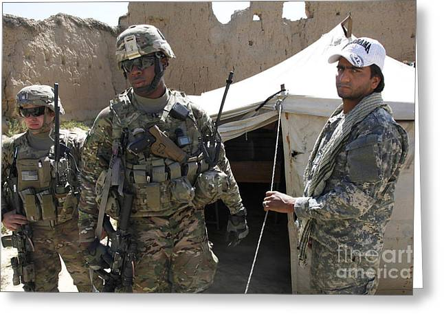 Operation Enduring Freedom Greeting Cards - U.s. Soldiers Take A Tour Of The Petawa Greeting Card by Stocktrek Images