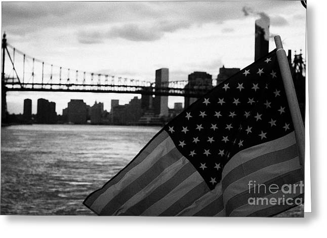 Manhatan Greeting Cards - US Stars and Stripes flag fluttering in the wind east river new york city Greeting Card by Joe Fox