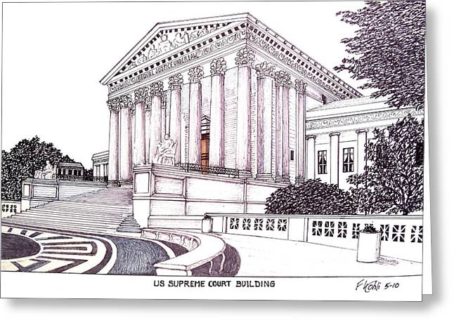 Us Supreme Court Building Greeting Card by Frederic Kohli