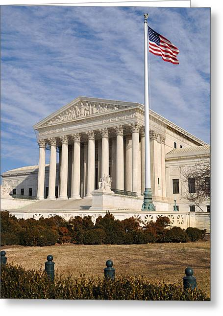 Equality Greeting Cards - US Supreme Court Building with United States Flag Greeting Card by Brandon Bourdages