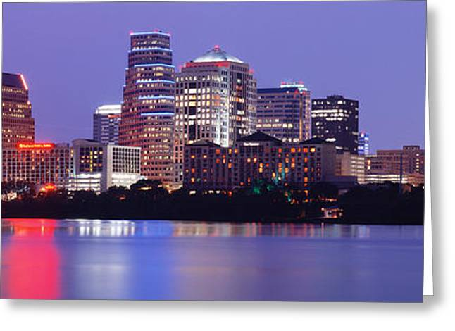 Austin Tx Greeting Cards - Us, Texas, Austin, Skyline, Night Greeting Card by Panoramic Images