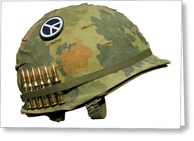 Grunts Greeting Cards - US Vietnam War Helmet - Peace Button Greeting Card by Dt