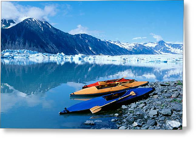 Mountain Greeting Cards - Usa, Alaska, Kayaks By The Side Greeting Card by Panoramic Images