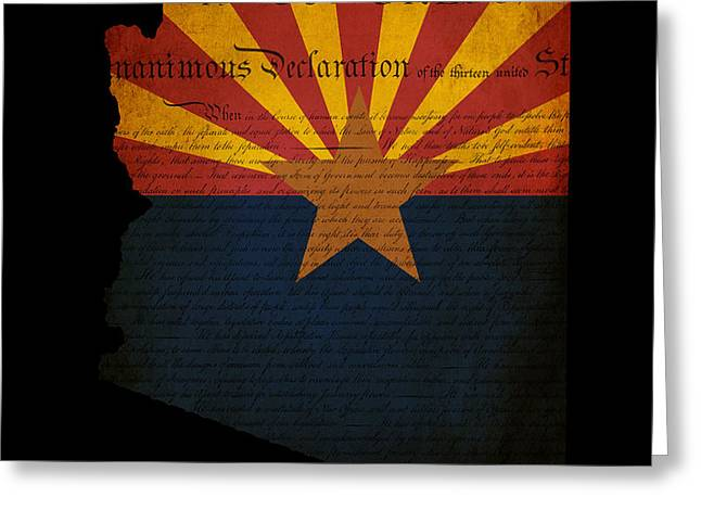 USA American Arizona State Map outline with grunge effect flag a Greeting Card by Matthew Gibson