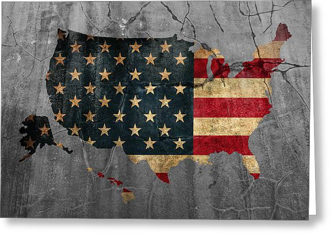 Usa Mixed Media Greeting Cards - USA American Flag Country Outline Painted on Old Cracked Cement Greeting Card by Design Turnpike