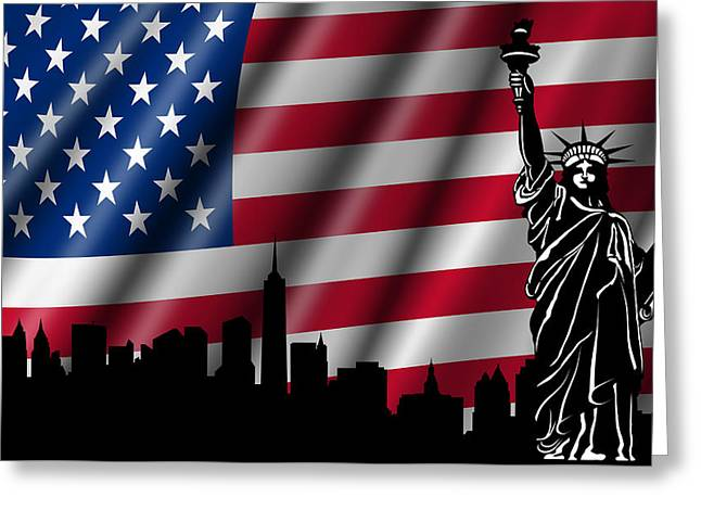 Usa American Flag With Statue Of Liberty Skyline Silhouette Greeting Card by David Gn
