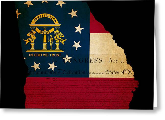 USA American Georgia State Map outline with grunge effect flag a Greeting Card by Matthew Gibson