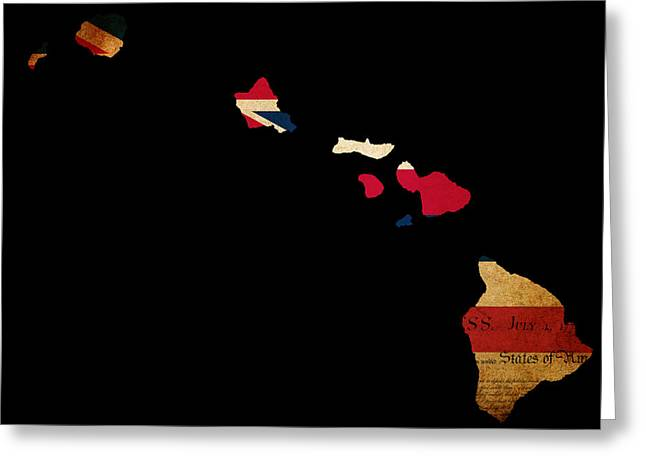 USA American Hawaii State Map outline with grunge effect flag in Greeting Card by Matthew Gibson