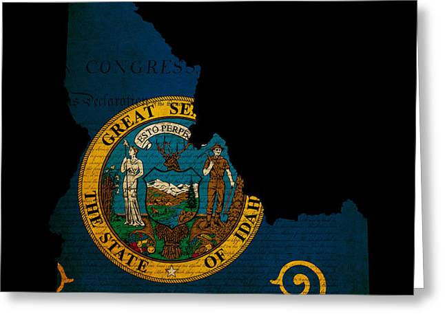 USA American Idaho State Map outline with grunge effect flag and Greeting Card by Matthew Gibson
