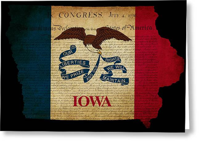 Flag Of Usa Greeting Cards - USA American Iowa State Map outline with grunge effect flag and  Greeting Card by Matthew Gibson