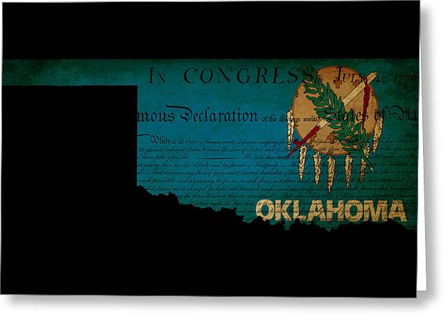 USA American Oklahoma State Map outline with grunge effect flag  Greeting Card by Matthew Gibson