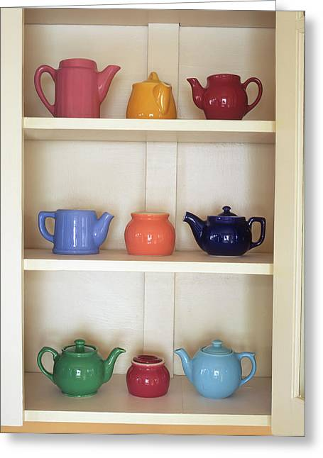 Usa, Antique Ceramic Teapots & Sugar Greeting Card by Jaynes Gallery