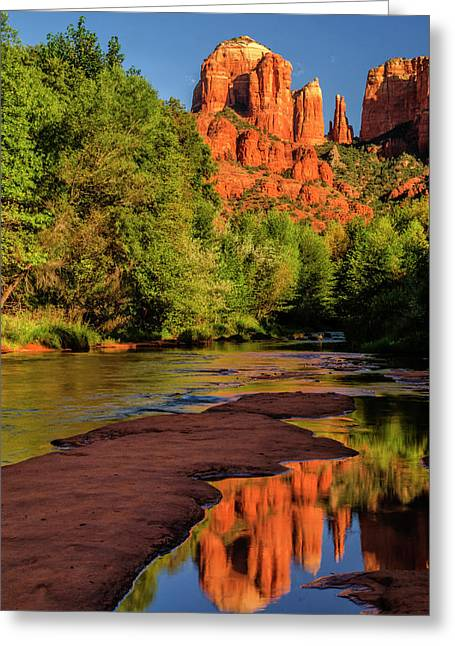 Usa, Arizona Cathedral Rock Reflects Greeting Card by Jaynes Gallery