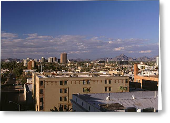 Phoenix Architecture Greeting Cards - Usa, Arizona, Phoenix, Aerial View Greeting Card by Panoramic Images