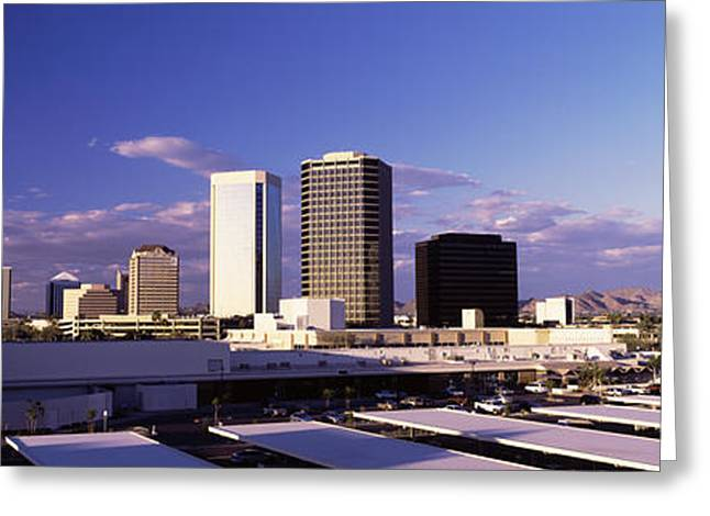 Phoenix Architecture Greeting Cards - Usa, Arizona, Phoenix, Skyline At Dawn Greeting Card by Panoramic Images