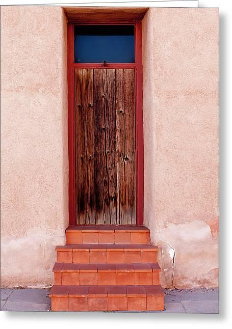 Usa, Arizona, Tucson, Barrio Vijo Door Greeting Card by Peter Hawkins