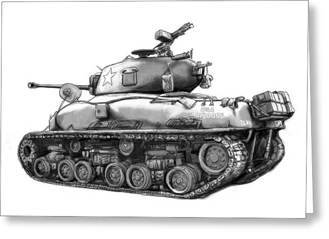 Army Tank Greeting Cards - USA army tank in world 2 drawing art poster Greeting Card by Kim Wang