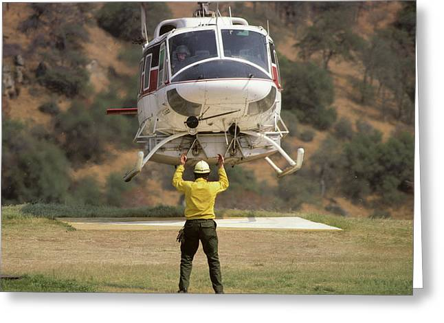 Usa, California, Fire Helicopter Greeting Card by Gerry Reynolds