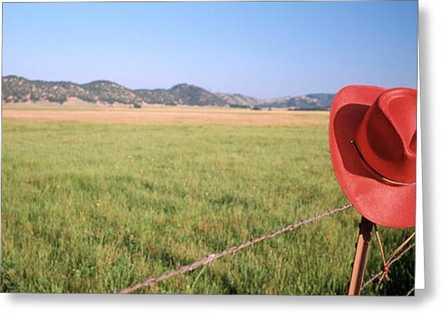 Usa, California, Red Cowboy Hat Hanging Greeting Card by Panoramic Images