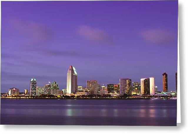 City Buildings Greeting Cards - Usa, California, San Diego, Dusk Greeting Card by Panoramic Images