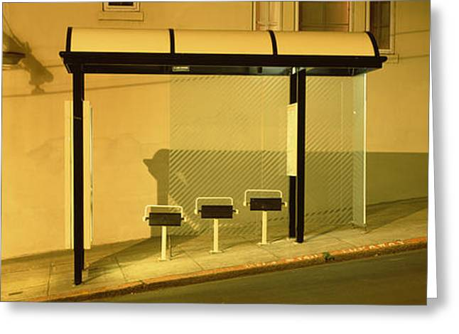 Bus Stop Greeting Cards - Usa, California, San Francisco, Bus Greeting Card by Panoramic Images