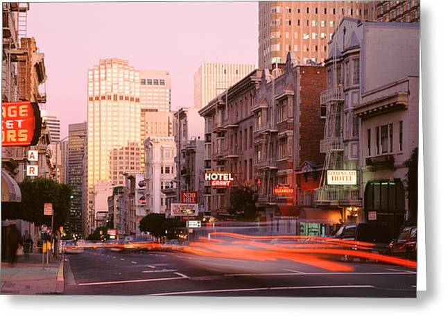 Crosswalk Greeting Cards - Usa, California, San Francisco, Evening Greeting Card by Panoramic Images