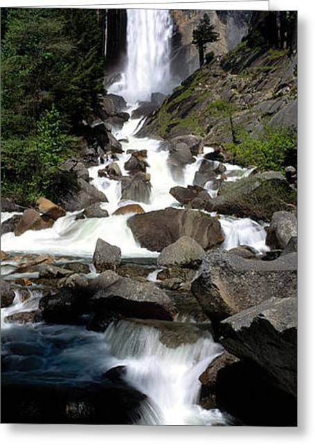 Falling Water Greeting Cards - Usa, California, Yosemite Park, Vernal Greeting Card by Panoramic Images