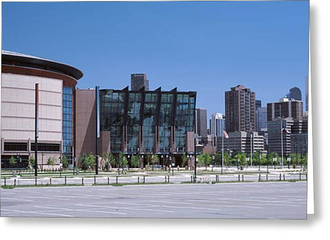 Glass Building Greeting Cards - Usa, Colorado, Denver, Skyline Greeting Card by Panoramic Images