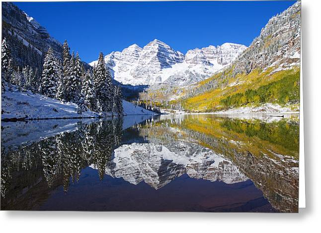 Trees Reflecting In Water Greeting Cards - Usa, Colorado, Early Snow Near Aspen Greeting Card by Ron Dahlquist