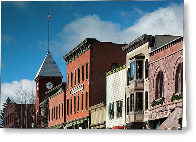 Usa, Colorado, Telluride, Main Street Greeting Card by Walter Bibikow