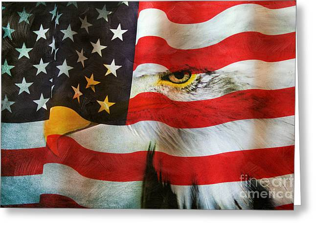 Symbol Of Power Greeting Cards - Usa Greeting Card by Darren Fisher