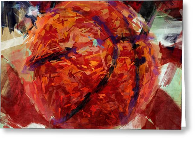 Basketball Abstract Greeting Cards - USA Flag and Basketball Abstract Greeting Card by David G Paul