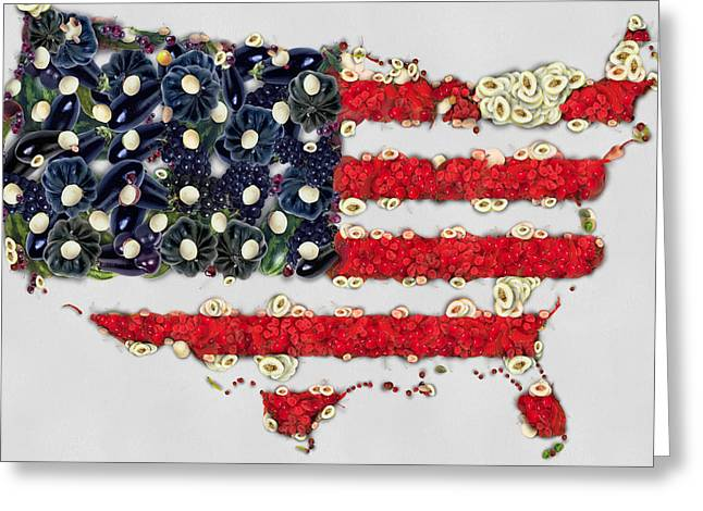4th July Digital Art Greeting Cards - USA flag map fruits and vegetables art Greeting Card by Eti Reid