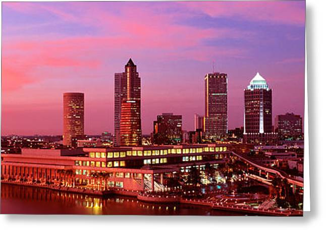 Convention Center Greeting Cards - Usa, Florida, Tampa , Night Greeting Card by Panoramic Images