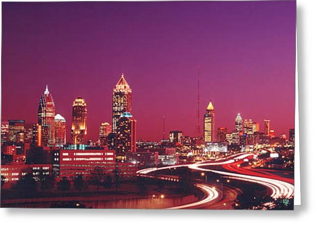 Business Movement Greeting Cards - Usa, Georgia, Atlanta, Night Greeting Card by Panoramic Images