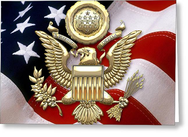 Coa Greeting Cards - U.S.A. Great Seal in Gold over American Flag  Greeting Card by Serge Averbukh