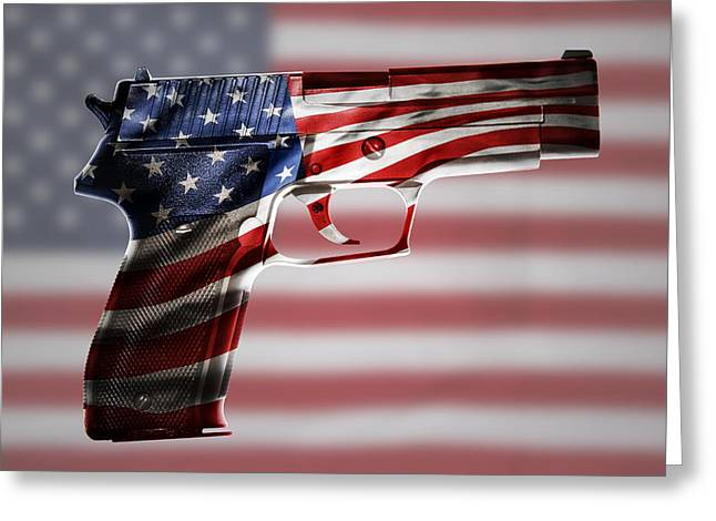 Weaponry Greeting Cards - USA gun  Greeting Card by Les Cunliffe