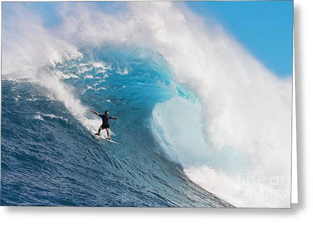 Technical Greeting Cards - USA, Hawaii Islands, Maui, Surfer On Huge Wave_ Peahi-Jaws Greeting Card by Dave Fleetham