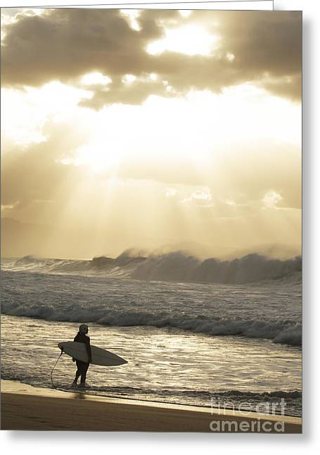 Sand Art Greeting Cards - USA, Hawaii, Oahu, Surfer standing on shore_ North Shore Greeting Card by Vince Cavataio