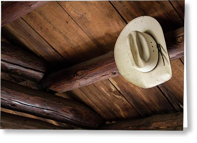 Usa, Idaho Cowboy Hat In Abandoned Greeting Card by Jaynes Gallery