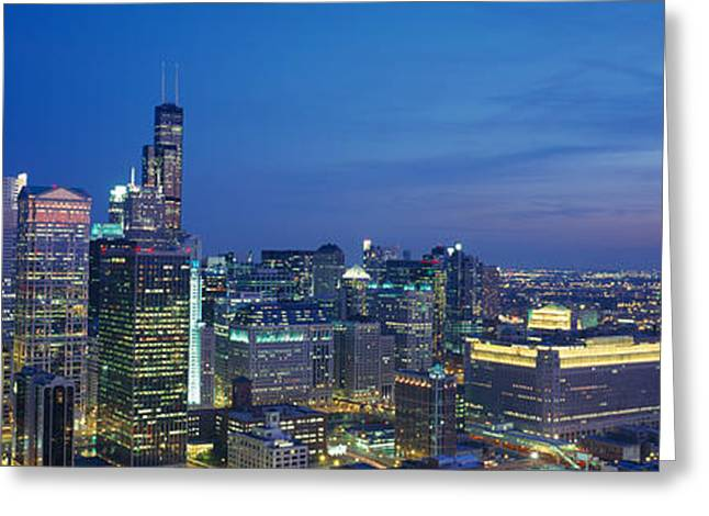City Buildings Greeting Cards - Usa, Illinois, Chicago, Twilight Greeting Card by Panoramic Images