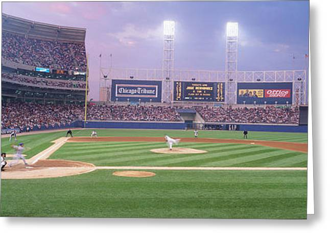 Illuminate Greeting Cards - Usa, Illinois, Chicago, White Sox Greeting Card by Panoramic Images