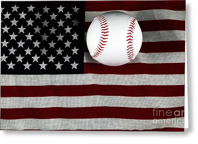 Baseball Art Greeting Cards - Usa Greeting Card by John Rizzuto