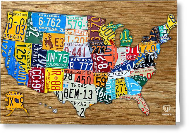 Montana Map Greeting Cards - USA License Plate Map Car Number Tag Art on Light Brown Stained Board Greeting Card by Design Turnpike