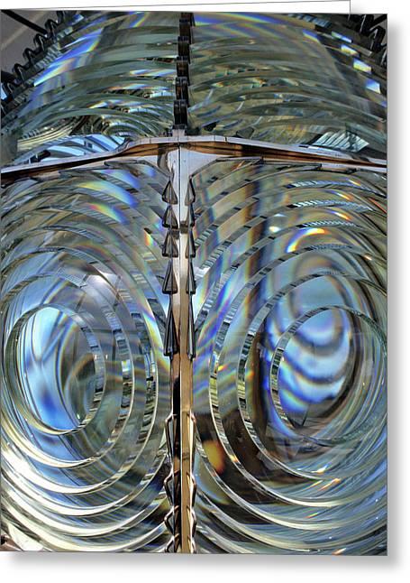 Usa, Lighthouse Lens, Oregon Greeting Card by Gerry Reynolds