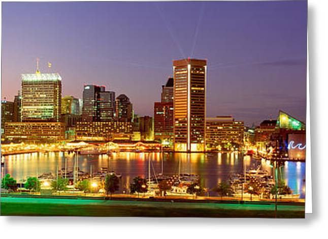Inner Reflections Greeting Cards - Usa, Maryland, Baltimore, City At Night Greeting Card by Panoramic Images