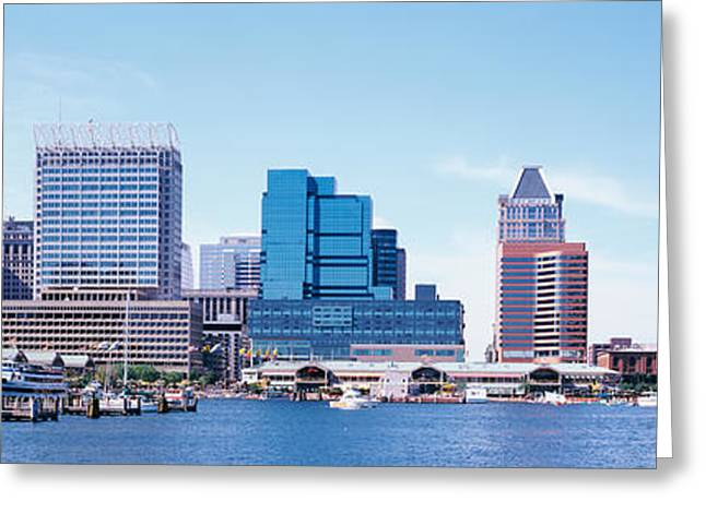 Tall Ships Greeting Cards - Usa, Maryland, Baltimore, Skyscrapers Greeting Card by Panoramic Images
