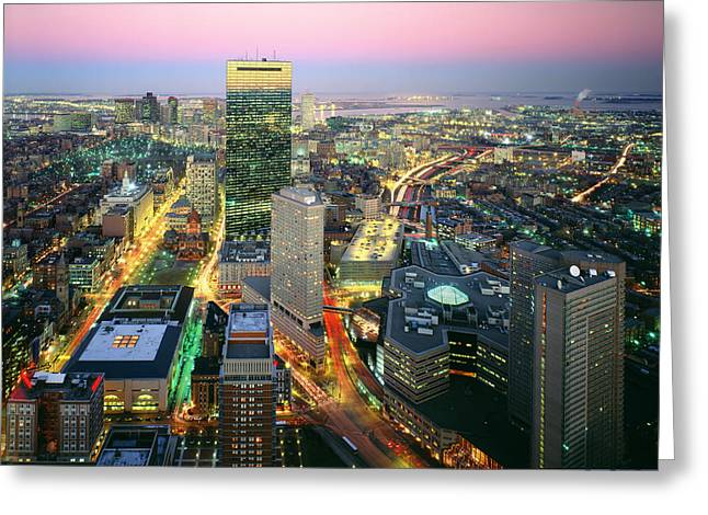 Birdseye Greeting Cards - Usa, Massachusetts, Boston, Night View Greeting Card by Tips Images
